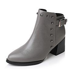 Tata/他她2017冬专柜同款灰色牛皮铆钉粗高跟及踝靴女短靴FE155DD7