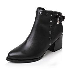 Tata/他她2017冬专柜同款黑色牛皮铆钉粗高跟及踝靴女短靴FE155DD7