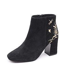 Tata/他她2017冬专柜同款黑色羊皮时尚刺绣粗跟女休闲靴FBB46DD7