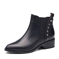 Tata/他她2017冬专柜同款黑色牛皮时尚通勤女短靴FBF42DD7