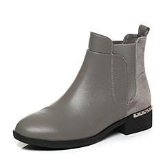 Tata/他她2017冬专柜同款灰色职场拼接风切尔西靴女短靴FAL41DD7
