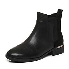 Tata/他她2017冬专柜同款黑色职场拼接风切尔西靴女短靴FAL41DD7