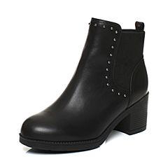 Tata/他她2017冬专柜同款黑色牛皮铆钉切尔西靴女短靴FAK41DD7
