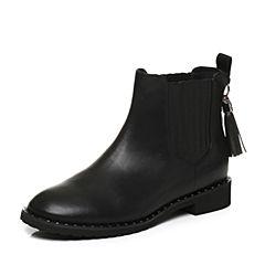 Tata/他她2017冬专柜同款黑色牛皮流苏切尔西靴女休闲靴FAU50DD7