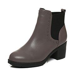 Tata/他她2017冬专柜同款灰色牛皮铆钉切尔西靴女短靴FAK41DD7