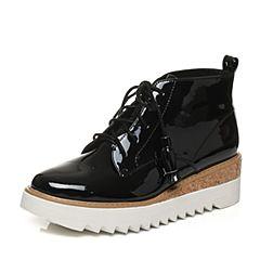 Tata/他她2017冬专柜同款黑色流苏绑带坡跟女休闲靴FAI43DD7