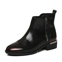 Tata/他她2017冬专柜同款酒红/黑牛皮通勤方跟女皮靴FAL40DD7