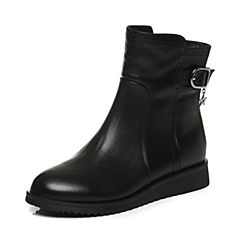 Tata/他她2017冬专柜同款黑色牛皮饰扣坡跟女休闲靴2N952DD7