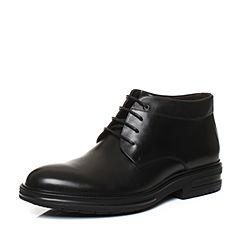 Tata/他她2017冬黑色牛皮商务通勤绑带及踝靴男皮靴F9399DD7