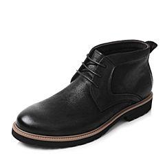 Tata/他她2017冬黑色牛皮绑带方跟休闲男皮靴A2017DD7