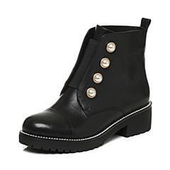 Tata/他她2017冬黑色牛皮珍珠英伦风休闲靴套筒女短靴2612ADD7