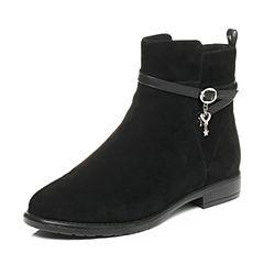 Tata/他她2017冬黑色羊绒皮时尚皮带扣方跟女皮靴F0636DD7