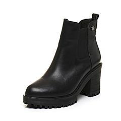 Tata/他她2017冬黑色牛皮通勤简约套筒粗高跟女短靴50288DD7