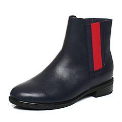 Tata/他她2017冬深蓝牛皮英伦织带通勤风套筒女皮靴17191DD7