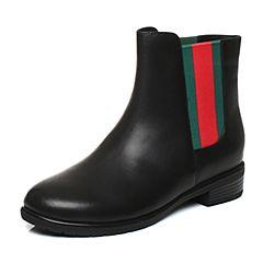 Tata/他她2017冬黑色牛皮英伦织带通勤风套筒女皮靴17191DD7