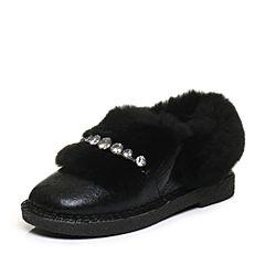 Tata/他她2017冬黑色牛皮拼接兔毛套脚方跟女皮靴16730DD7