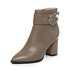 Tata/他她2017冬卡其色牛皮珍珠皮带扣尖头靴粗高跟女皮靴17078DD7