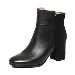 Tata/他她2017冬黑色时尚拼接风通勤粗高跟女短靴17645DD7