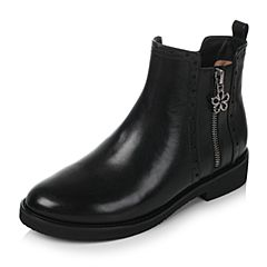 Tata/他她2017冬黑色牛皮时尚桃花扣镂花方跟女皮靴2YWI6DD7