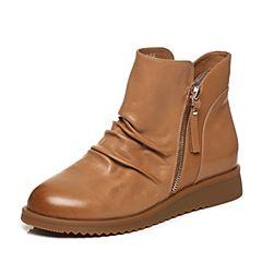 Tata/他她2017冬棕色羊皮经典褶皱纹坡跟女休闲靴绒里靴2N950DD7