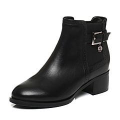Tata/他她2017冬黑色牛皮通勤皮带扣方跟女短靴FD646DD7
