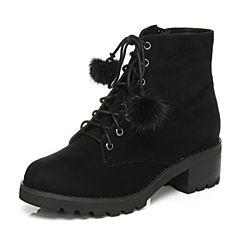 Tata/他她2017冬黑色羊皮绒面毛球绑带马丁靴女休闲靴2XZ55DD7