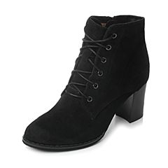 Tata/他她2017冬黑色羊皮绒面绑带马丁靴粗高跟女休闲靴FHE40DD7