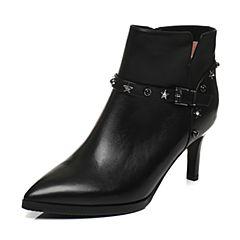 Tata/他她2017冬黑色牛皮铆钉皮带扣尖头及踝靴细高跟女皮靴FF248DD7