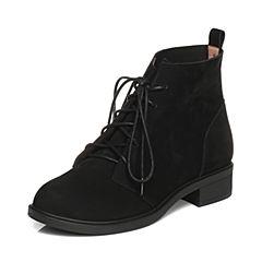 Tata/他她2017冬黑色磨砂牛皮绑带休闲时尚方跟女短靴FAX43DD7