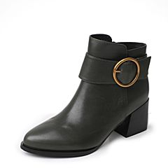 Tata/他她2017冬专柜同款绿色牛皮圆扣通勤尖头女短靴FE152DD7