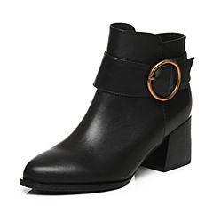 Tata/他她2017冬专柜同款黑色牛皮圆扣通勤尖头女短靴FE152DD7