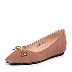 Tata/他她秋粉色羊绒皮蝴蝶结尖头鞋浅口女鞋85683CQ7