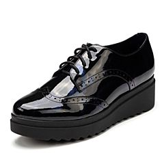 Tata/他她2017秋专柜同款兰黑漆牛皮英伦绑带坡跟女休闲鞋FAI21CM7