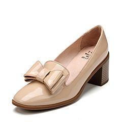 Tata/他她2017秋专柜同款浅杏漆牛皮英伦粗高跟女乐福鞋FAC01CQ7