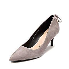 Tata/他她2017秋专柜同款灰色羊皮绒面尖头鞋酒杯跟女皮鞋FBC07CQ7