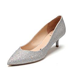 Tata/他她2017秋专柜同款银色亮片布水钻尖头女猫跟鞋FCV02CQ7