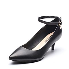 Tata/他她2017秋专柜同款黑色牛皮珍珠一字带女皮鞋2V3A4CQ7
