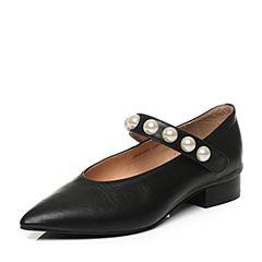 Tata/他她秋黑色羊皮珍珠一字带小v口尖头鞋女玛丽珍鞋16281CQ7