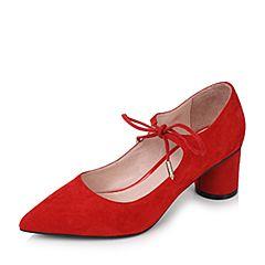Tata/他她2017秋红色羊绒皮时尚绑带尖头圆柱跟浅口女鞋16011CQ7