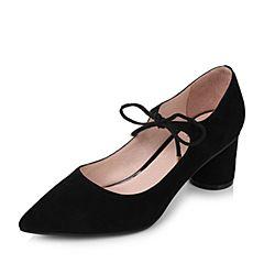 Tata/他她秋黑色羊绒皮时尚绑带尖头圆柱跟浅口女鞋16011CQ7