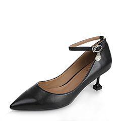 Tata/他她秋黑色羊皮复古风一字带珍珠尖头女单鞋TA723CQ7