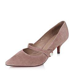 Tata/他她2017秋粉色羊绒皮复古珍珠魔术贴尖头女玛丽珍鞋SF021CQ7