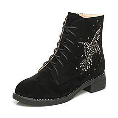 Tata/他她2017冬黑色羊绒皮蜂鸟水钻绑带休闲靴方跟女短靴27451DD7
