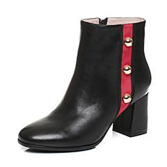 Tata/他她2017冬黑色牛皮铆钉织带英伦风粗高跟女皮靴17602DD7