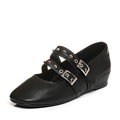 Tata/他她2017秋黑色牛皮铆钉一字带女玛丽珍鞋浅口女鞋FU701CQ7
