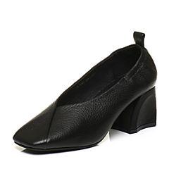 Tata/他她秋黑色牛皮小v口粗高跟奶奶鞋方头女皮鞋FU401CQ7
