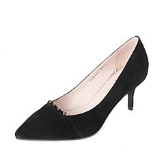 Tata/他她秋黑色羊绒皮水钻尖头鞋细高跟浅口女鞋ZK291CQ7