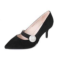 Tata/他她秋黑色羊绒皮水钻一字带尖头鞋细高跟女皮鞋ZK298CQ7