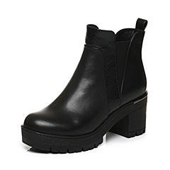 Tata/他她2017冬专柜同款黑色牛皮简约风粗高跟女短靴FE648DD7