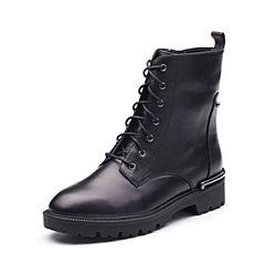 Tata/他她2017冬专柜同款黑色牛皮时尚马丁靴女休闲鞋FN140DD7